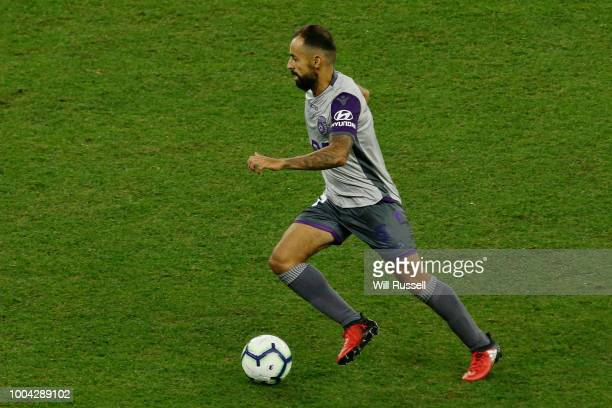 Diego Castro of the Glory looks to pass the ball during the international friendly between Chelsea FC and Perth Glory at Optus Stadium on July 23...