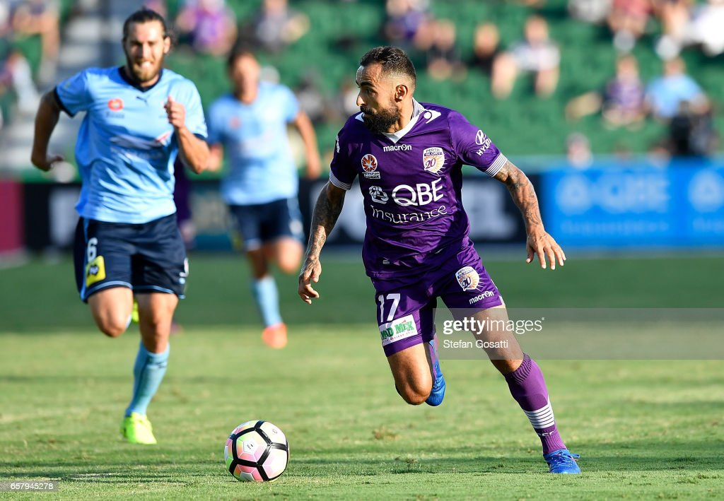 Diego Castro of the Glory looks to pass the ball during the round 24 A-League match between Perth Glory and Sydney FC at nib Stadium on March 26, 2017 in Perth, Australia.