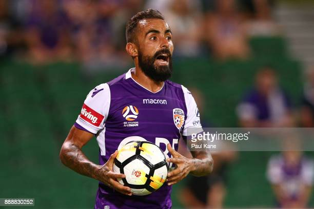 Diego Castro of the Glory looks to throw the ball in during the round 10 ALeague match between the Perth Glory and the Newcastle Jets at nib Stadium...
