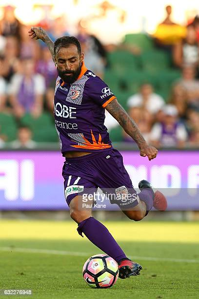 Diego Castro of the Glory passes the ball during the round 16 ALeague match between Perth Glory and Melbourne Victory at nib Stadium on January 21...