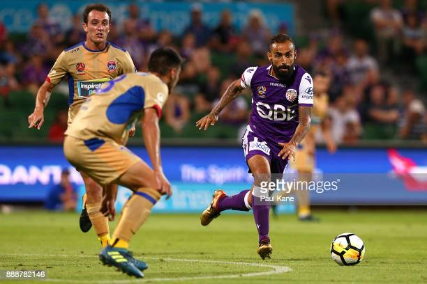 Diego Castro of the Glorycontrols the ball during the round 10 ALeague match between the Perth Glory and the Newcastle Jets at nib Stadium on...