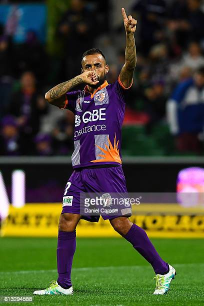 Diego Castro of the Perth Glory celebrates a goal during the round one ALeague match between the Perth Glory and the Central Coast Mariners at nib...