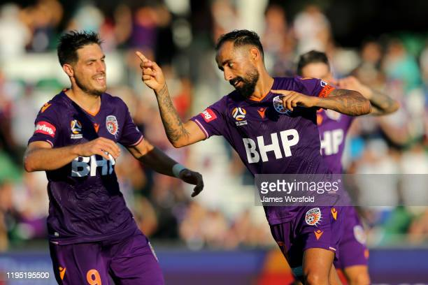 Diego Castro of the Perth Glory celebrates his second goal of the afternoon during the round 11 A-League match between the Perth Glory and Newcastle...