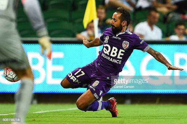 Diego Castro of the Perth Glory dives to try and save the ball during the round 15 ALeague match between Perth Glory and Melbourne City FC at nib...