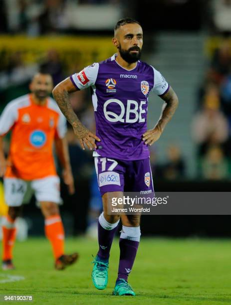 Diego Castro of the Perth Glory looks on in disbelief as he reacts to missing a penalty during the round 27 ALeague match between the Perth Glory and...