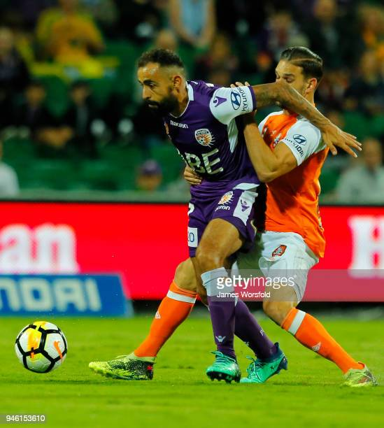 Diego Castro of the Perth Glory protects the ball during the round 27 ALeague match between the Perth Glory and the Brisbane Roar at nib Stadium on...