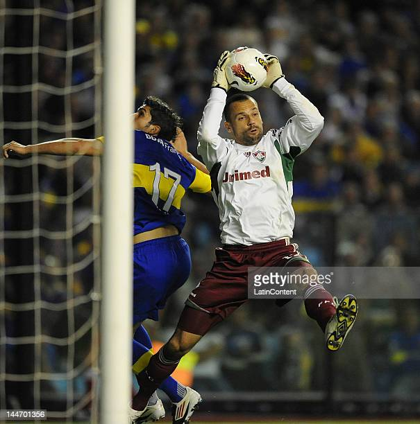 Diego Cavalieri goalkeeper of Fluminense catches the ball during a match as part of the Santander Libertadores Cup at Alberto J Armando Stadium on...