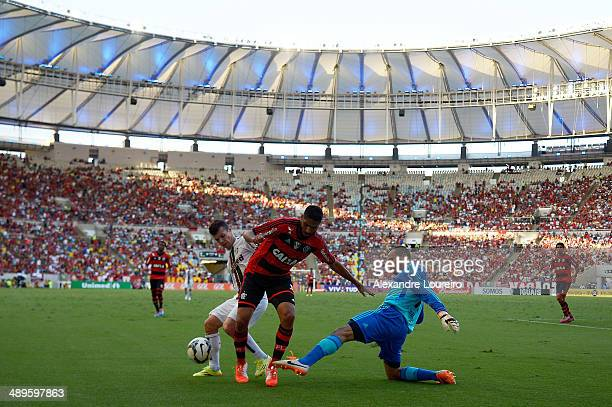 Diego CavallierI and Wagner of Fluminense battles for the ball with Wallace of Flamengo during the match between Fluminense and FlamengoÊ as part of...