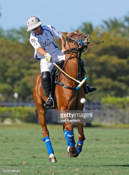 Diego Cavanagh of Valiente hits the ball towards the goal against Richard Mille during The Palm Beach Open on March 15 2020 at the Grand Champions...