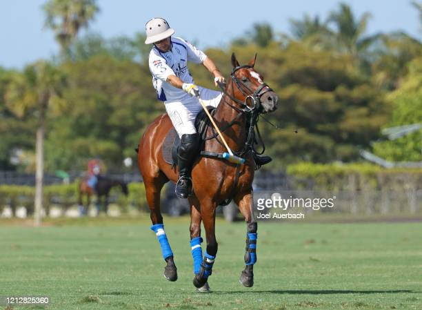 Diego Cavanagh of Valiente scores on a penalty shot against Richard Mille during The Palm Beach Open on March 15 2020 at the Grand Champions Polo...