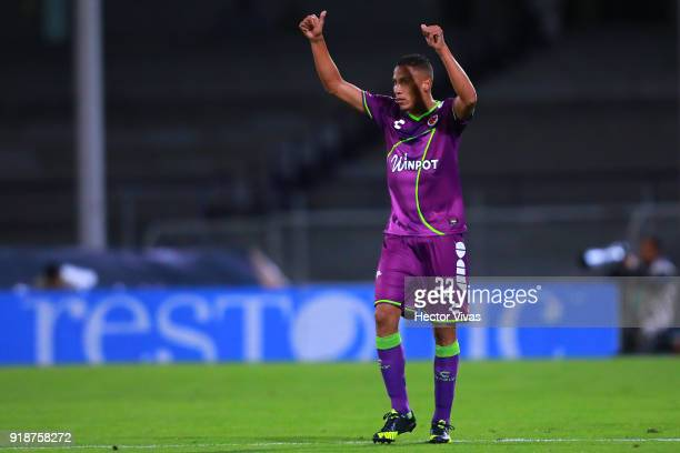 Diego Chavez of Veracruz celebrates after scoring the first goal of his team during the 7th round match between Pumas UNAM and Veracruz as part of...