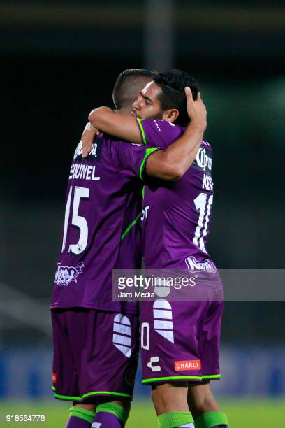 Diego Chavez of Veracruz celebrates with teammate Carlos Esquivel after scoring during the 7th round match between Pumas UNAM and Veracruz as part of...