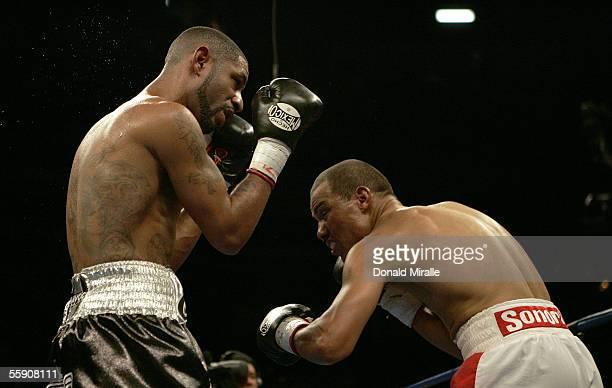 Diego Chico Corrales and Jose Luis Castillo of Mexico are seen in the ring during their Bout October 8 2005 at the Thomas Mack Center on the campus...