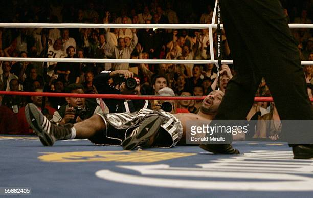 Diego Chico Corrales lies on the canvas after he was knocked out in the 4th round by Jose Luis Castillo during their Bout October 8 2005 at the...