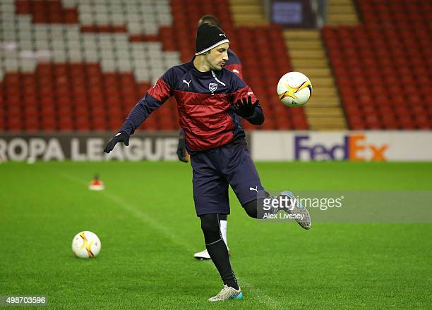 Diego Contento of FC Girondins de Bordeaux controls the ball during a training session at Anfield on November 25 2015 in Liverpool United Kingdom