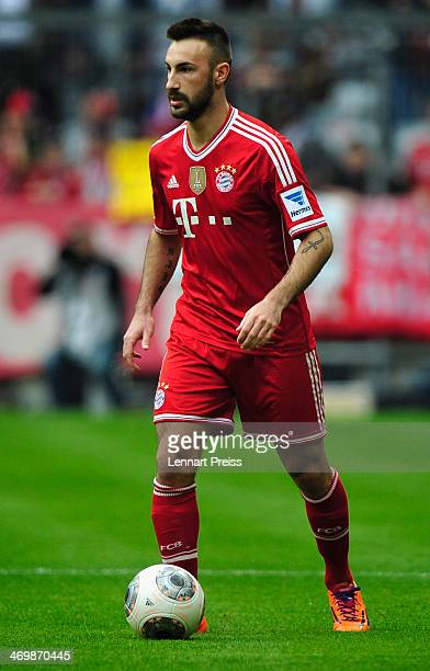 Diego Contento of Muenchen in action during the Bundesliga match between FC Bayern Muenchen and SC Freiburg at Allianz Arena on February 15 2014 in...