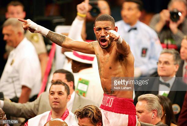 Diego Corrales celebrates his win over Jose Luis Castillo during their World Lightweight Unification bout on May 7 2005 at The Mandalay Bay in Las...