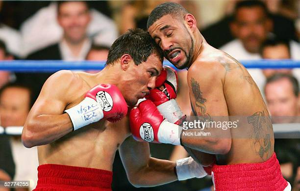 Diego Corrales is hit by a left to the body by Jose Luis Castillo during their World Lightweight Unification bout on May 7 2005 at The Mandalay Bay...