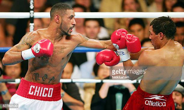Diego Corrales lands a left hook on Jose Luis Castillo during their World Lightweight Unification bout on May 7 2005 at The Mandalay Bay in Las Vegas...