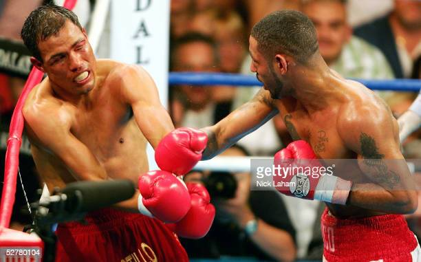 Diego Corrales lands a right on Jose Luis Castillo during their World Lightweight Unification bout on May 7 2005 at The Mandalay Bay in Las Vegas...
