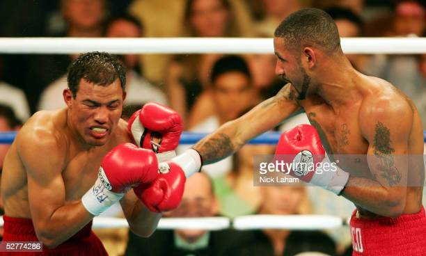 Diego Corrales lands a right on the face of Jose Luis Castillo during their World Lightweight Unification bout on May 7 2005 at The Mandalay Bay in...