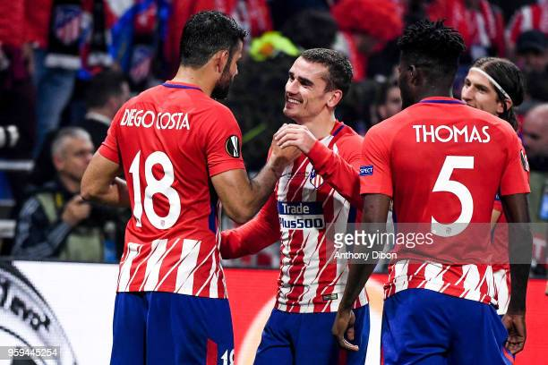 Diego Costa and Antoine Griezmann of Atletico Madrid celebrates the victory during the Europa League Final match between Marseille and Atletico...