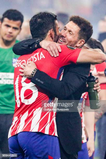 Diego Costa and Diego Simeone coach of Atletico Madrid celebrate the victory after the Europa League Final match between Marseille and Atletico...