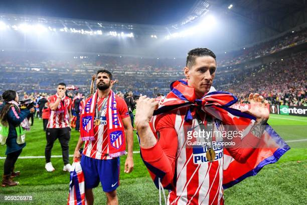 Diego Costa and Fernando Torres of Atletico Madrid celebrates during the Europa League Final match between Marseille and Atletico Madrid at Groupama...