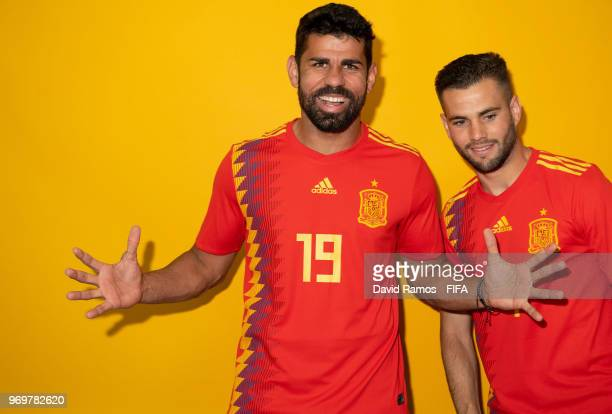 Diego Costa and Nacho Fernandez of Spain pose for a portrait during the official FIFA World Cup 2018 portrait session at FC Krasnodar Academy on June...