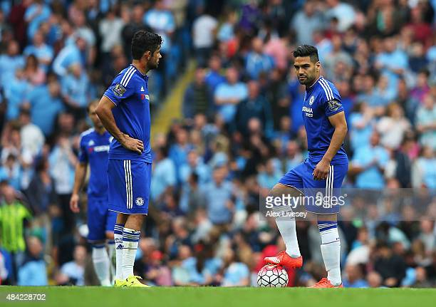 Diego Costa and Radamel Falcao of Chelsea look dejected after the goal scored by Vincent Kompany of Manchester City during the Barclays Premier...