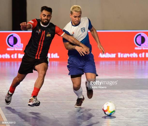Diego Costa and Rico Zulkarnain play to get the ball during the Premier Futsal League Final Delhi Dragons vs Mumbai Warriors at Al Wasl Sports Club...