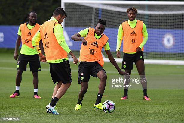 Diego Costa Bertrand Traore during a Chelsea training session at Chelsea Training Ground on July 12 2016 in Cobham England