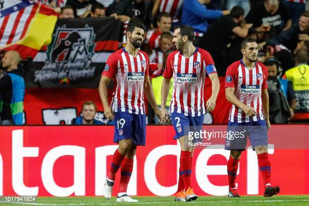 Diego Costa Diego Godin and Koke of Atletico Madrid during the UEFA Super Cup match between Real Madrid and Atletico Madrid on August 15 2018 at...