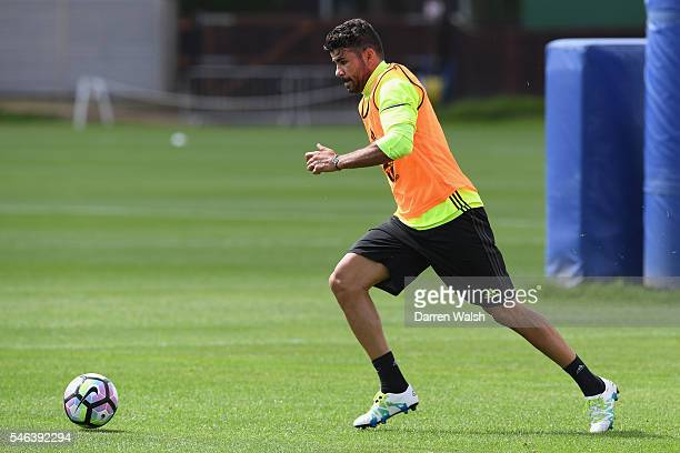 Diego Costa during a Chelsea training session at Chelsea Training Ground on July 12 2016 in Cobham England