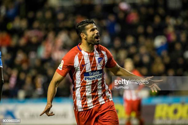18 Diego Costa from Spain of Atletico de Madrid celebrating his first goal with Atletico de Madrid of 2018 during the Copa del Rey Spanish King's Cup...