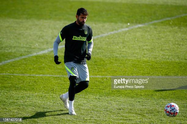 Diego Costa in action during the Atletico de Madrid training session for the UEFA CHampions League football match to play against Lokomotiv of...