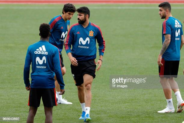 Diego Costa Jesus Vallejo Iñaki Willians of Spain look on during a training session on May 30 2018 in Madrid Spain