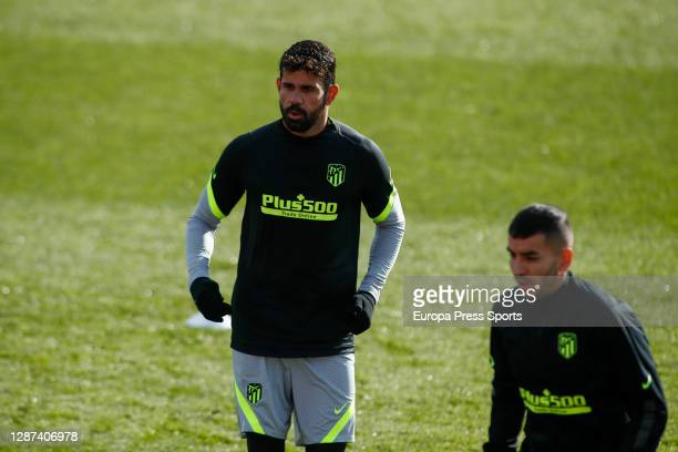 Diego Costa looks on during the Atletico de Madrid training session for the UEFA CHampions League football match to play against Lokomotiv of Moscow,...