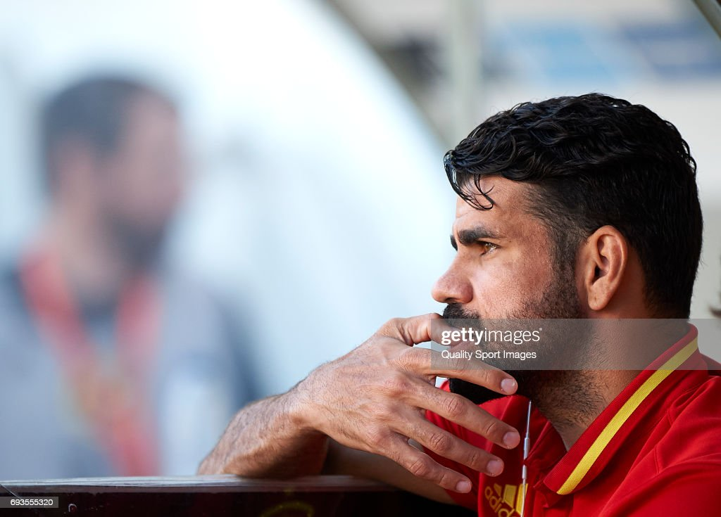 Diego Costa looks on prior the international friendly match between Spain and Colombia at Nueva Condomina stadium on June 7, 2017 in Murcia, Spain.