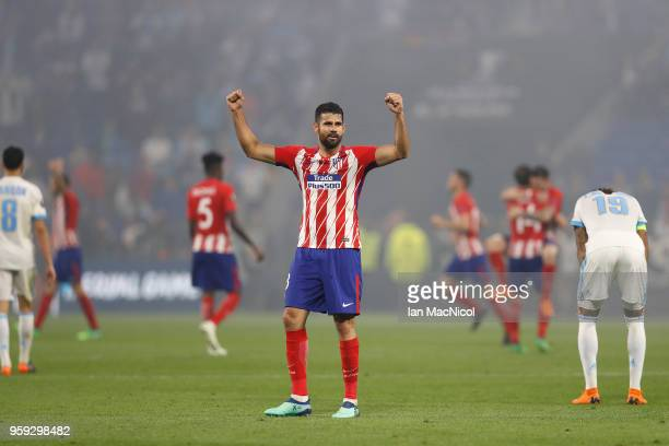 Diego Costa of Athletico Madrid celebrates at full time during the UEFA Europa League Final between Olympique de Marseille and Club Atletico de...