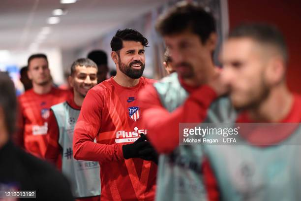 Diego Costa of Atleti looks on before the UEFA Champions League round of 16 second leg match between Liverpool FC and Atletico Madrid at Anfield on...