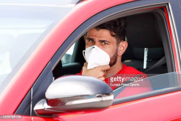 Diego Costa of Atletico de Madrid arrives to take a medical test at Ciudad Deportiva Atletico de Madrid to check the state of their health before...