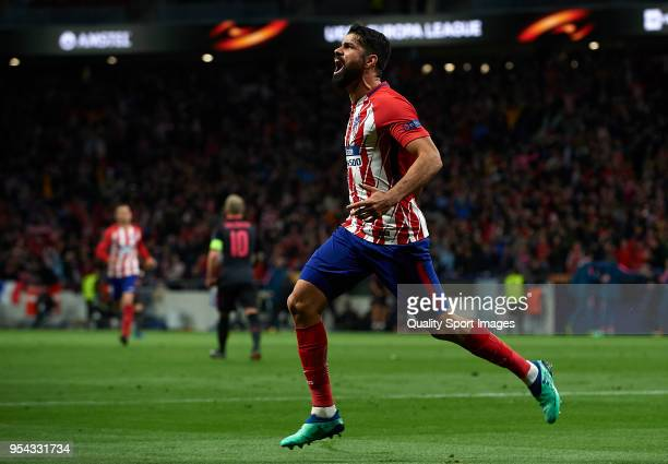 Diego Costa of Atletico de Madrid celebrates after scoring his sides first goal during the UEFA Europa League Semi Final second leg match between...