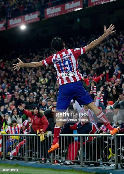 Diego Costa of Atletico de Madrid celebrates scoring their second goal during the La Liga match between Club Atletico de Madrid and Real Sociedad de...