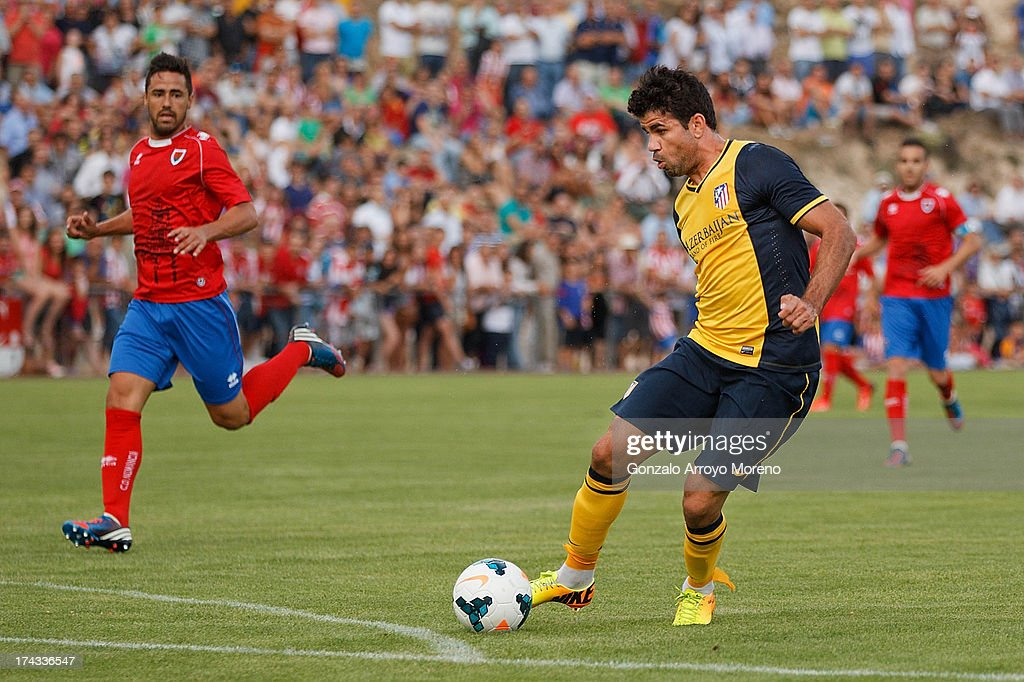 Diego Costa of Atletico de Madrid controls the ball during the Jesus Gil y Gil Trophy between Club Atletico de Madrid and Numancia C. D. at Sporting Club Uxama on July 21, 2013 in Burgo de Osma, Soria, Spain.