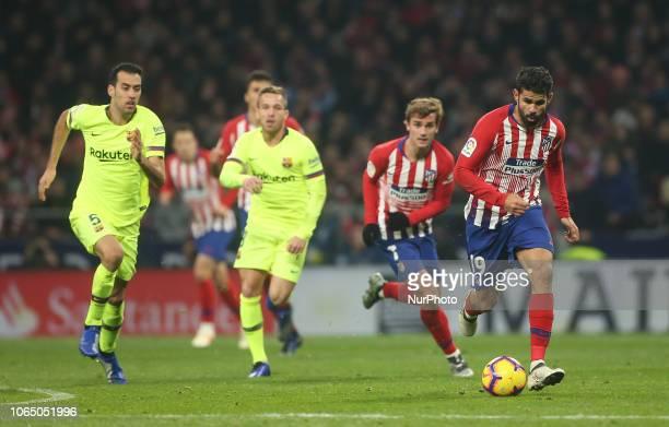 Diego Costa of Atletico de Madrid controls the ball during the La Liga match between Club Atletico de Madrid and FC Barcelona at Wanda Metropolitano...