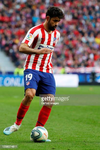 Diego Costa of Atletico de Madrid controls the ball during the Liga match between Club Atletico de Madrid and Sevilla FC at Wanda Metropolitano on...