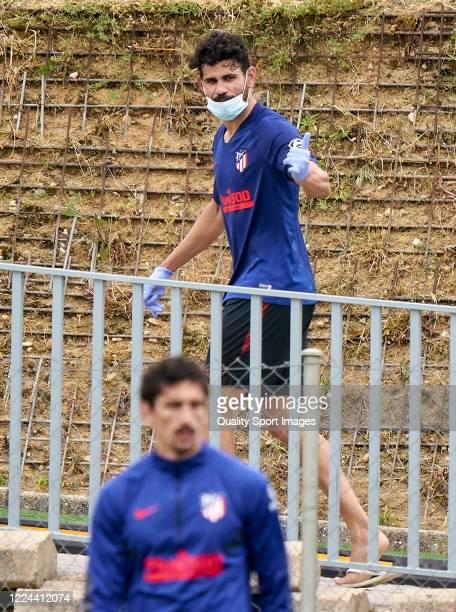 Diego Costa of Atletico de Madrid during a training session at Estadio Cerro del Espino on May 12 2020 in Madrid Spain