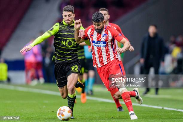 Diego Costa of Atletico de Madrid fights for the ball with Cristiano Piccini of Sporting CP during the UEFA Europa League quarter final leg one match...