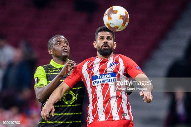 Diego Costa of Atletico de Madrid fights for the ball with William Carvalho of Sporting CP during the UEFA Europa League quarter final leg one match...